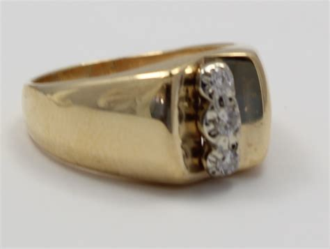 yellow gold  stone diamond mens ring ebay