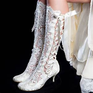 39evangeline elliot39 ivory vintage lace knee high wedding With wedding dress and boots