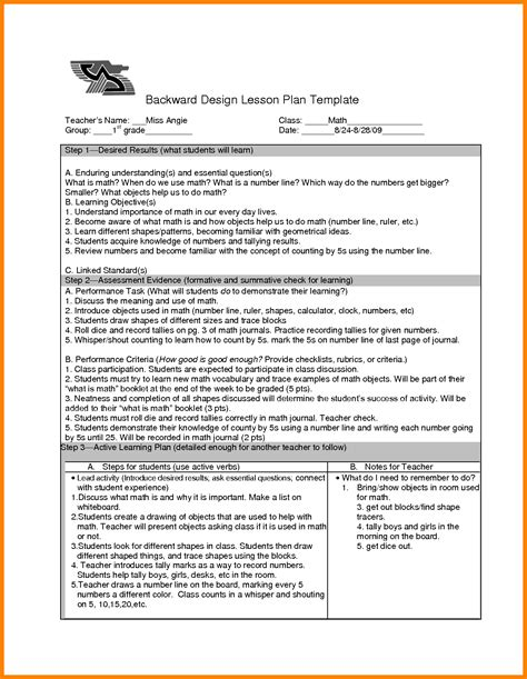 backward design lesson plan template 5 backwards design lesson plan exles dialysis