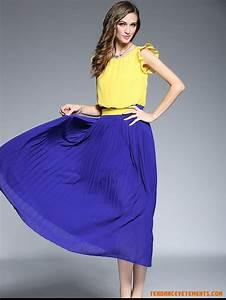 robe femme longue de mousseline jaune et bleu mince pas With robe mousseline pas cher