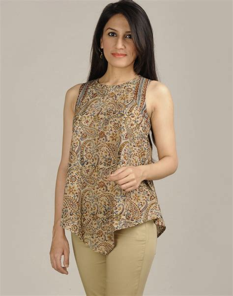Boat Neck Kurti Tops by Fabindia Cotton Kalamkari Boat Neck Top From India