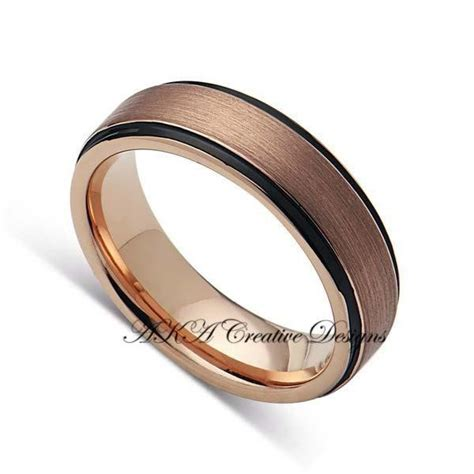 mens tungstenband mmtwo tone black  rose gold mens