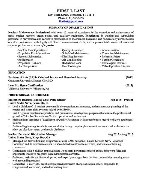 Civilian Resume Format by Sle Civilian Resumes Hirepurpose Conversion