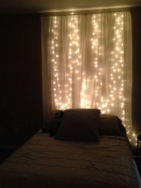lights and sheer curtains behind bed for the home diy