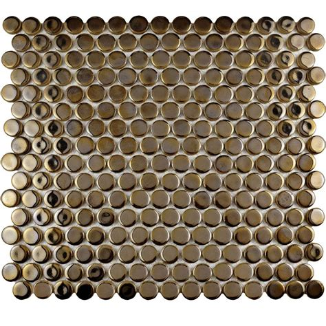 merola tile hudson penny round antique gold 12 in x 12 5