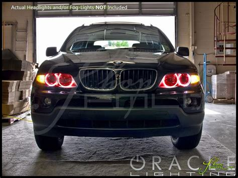 bmw halo lights oracle 00 06 bmw x5 led colorshift halo rings headlights bulbs