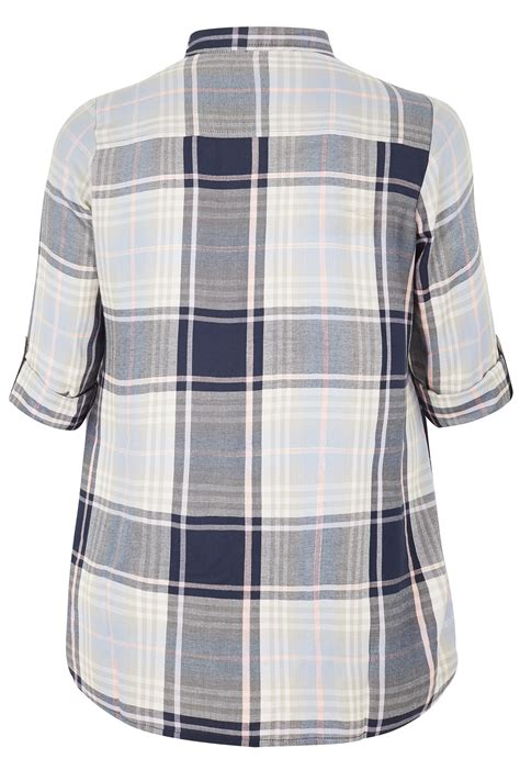Date Post Jenny Template Responsive by Navy Pink Checked Pintuck Longline Shirt Plus Size 16 To 36