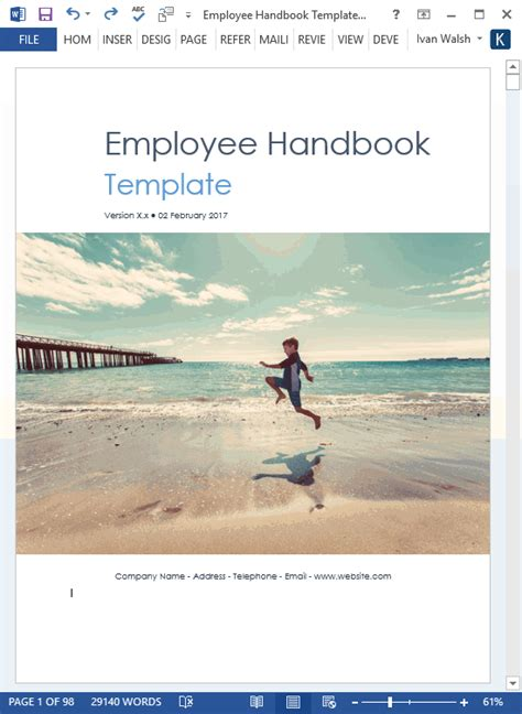 employee handbook template   pg ms word