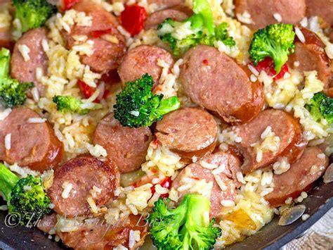 smoked sausage recipe smoked sausage cheesy rice the midnight baker
