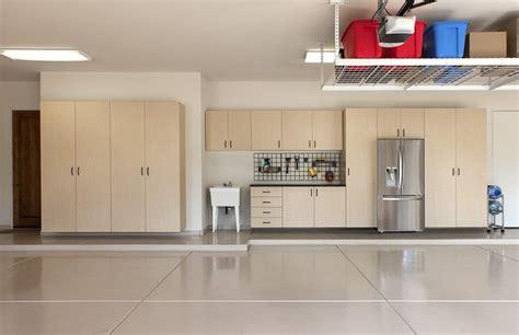garage maple cabinets  workbench sink frig