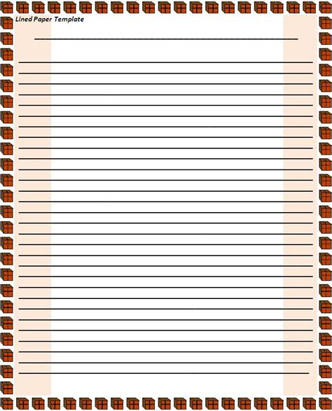 Lined Paper Template Lined Paper Template Free Printable Word Templates