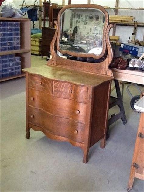 Tiger Oak Serpentine Dresser by Antique Serpentine Tiger Oak Dresser With Beveled Mirror