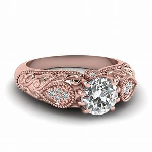 edwardian filigree diamond engagement ring in 14k rose With white gold and gold wedding rings