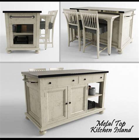 metal top kitchen island metal top kitchen island 3d model 3d printable max fbx stl 7475