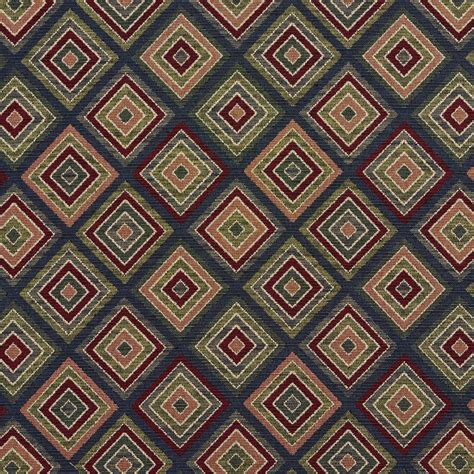 Upholstery Material by Navy Burgundy And Coral Abstract Tapestry Drapery