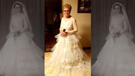 year  woman puts  wedding dress