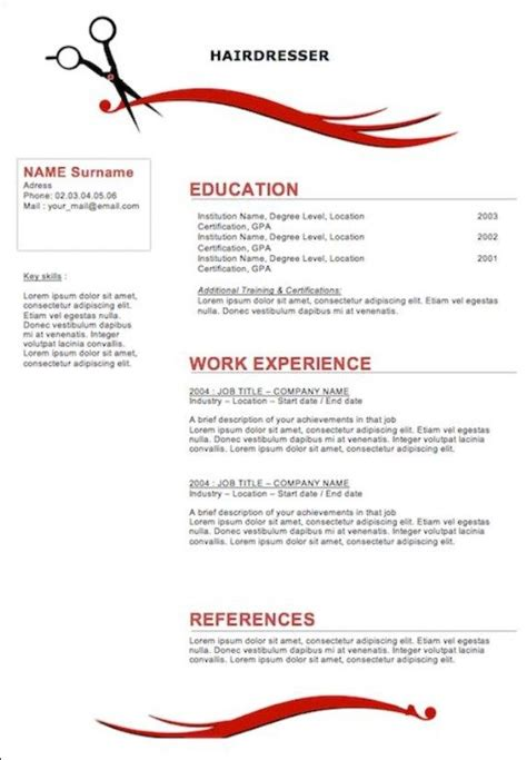 Cosmetologist Description For Resume by Free Resume Exles For Cosmetologist Resume Template