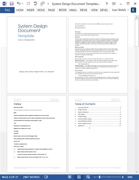 design document template system design document templates requirements traceability matrix data dictionary