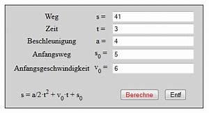 Geschwindigkeit Berechnen Mathe : weg zeit gesetz bei der gleichm ig beschleunigten bewegung mit anfangsweg und ~ Themetempest.com Abrechnung