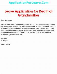 Leave Application for Grandmother Death