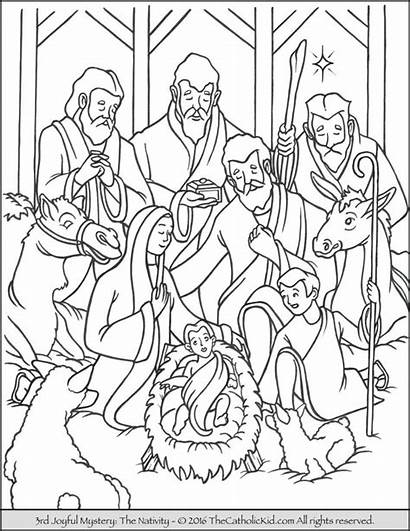 Coloring Pages Rosary Joyful Mysteries Nativity Jesus