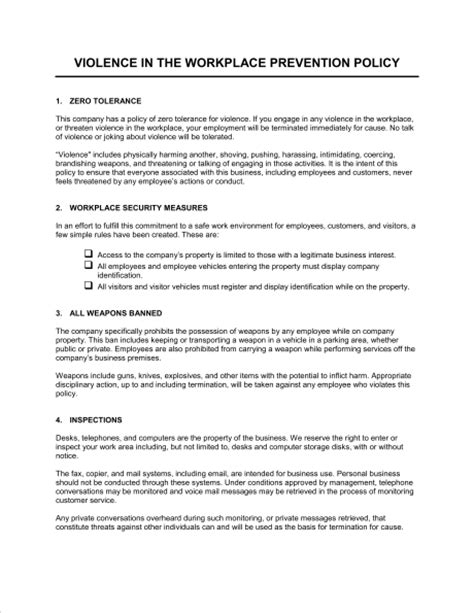 Free Workplace Policy Template Workplace Violence Prevention Policy Template Word Pdf