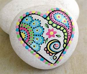 Hand Painted Abstract Heart Flower Paisley by ...