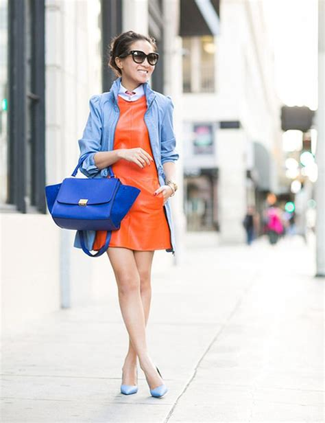 How to Wear and Mix Orange with Blue Outfits 2018 | Become Chic