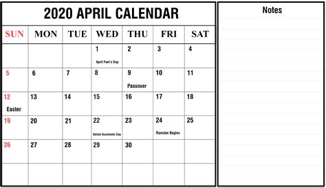 april calendar printable templates excel word