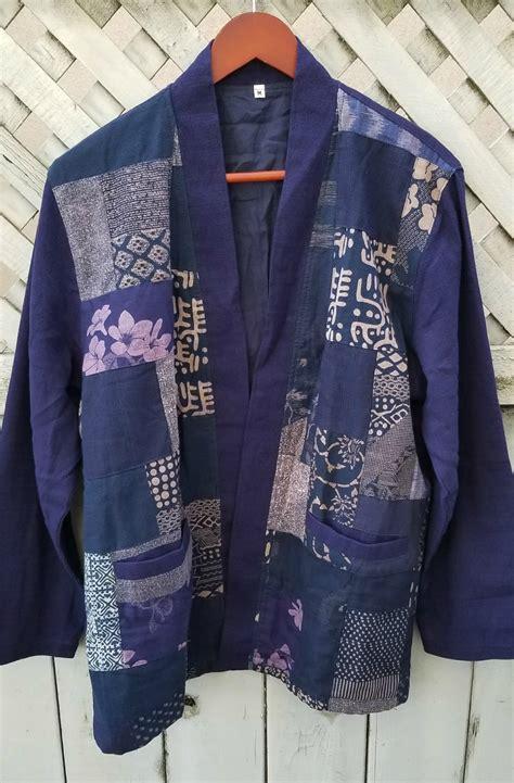 blue patchwork kimono noragi hanten siamurai