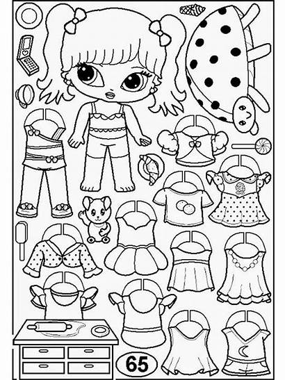 Coloring Paper Dolls Pages Printable Colors Bright