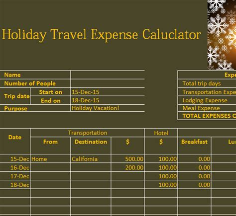 holiday travel expense calendar  excel templates