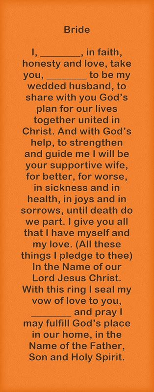 christian wedding vows exles for groom and