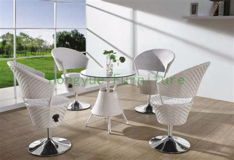 white rattan adjustable bar table and chair bar furniture