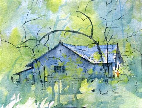 wood and iron table watercolour landscapes by artist sachin naik landscape