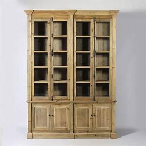 Bibliothèque En Pin : meuble biblioth que en bois recycl biblioth que vitr e authentique et pleine de charme ~ Teatrodelosmanantiales.com Idées de Décoration