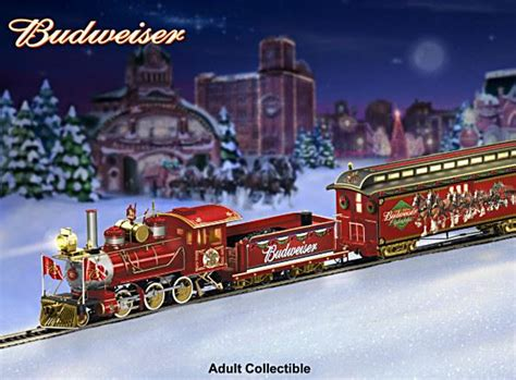 electric train under christmas tree quot budweiser holiday express quot electric christmas train
