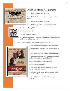 Amistad Movie Worksheet By Scott Harder  Teachers Pay Teachers