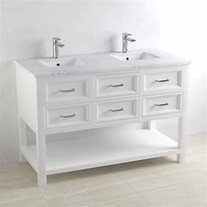 Salle De Bain Marbre Blanc : meuble salle de bains avec plan double vasque en marbre 120cm cottage ~ Nature-et-papiers.com Idées de Décoration