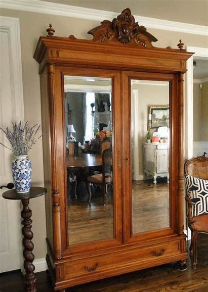 Wardrobe Armoire Antique Mirrored French Inside Fitted