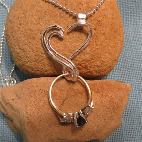 engagement ring holder necklace silver open charm
