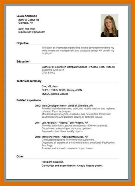 Resume Models Free by 3 4 Model Of A Cv Sowtemplate