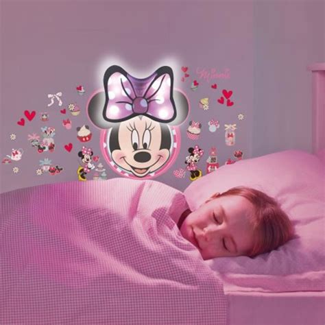 stickers geant chambre fille minnie sticker mural lumineux veilleuse achat vente