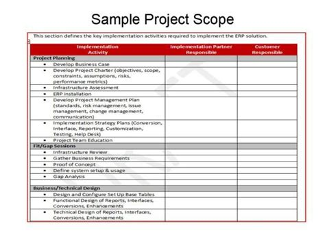 defining scope  erp implementations erp sample