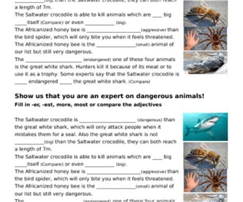 comparison  adjectives dangerous animals