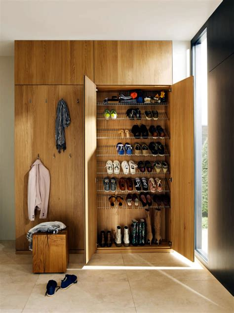 wooden wardrobe  shoes rack integrated interior