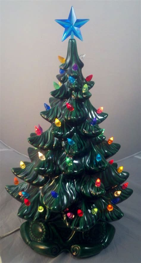 21 atantic mold flocked ceramic christmas tree vintage atlantic mold ceramic tree base 19 quot multi colored lights euc ebay