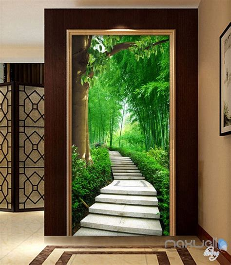 forest lane tree corridor entrance wall mural decals
