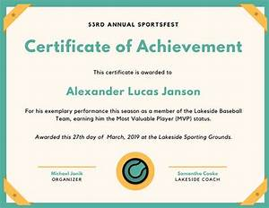 Sport Certificate Templates Teal Baseball Icon Sport Certificate Templates By Canva