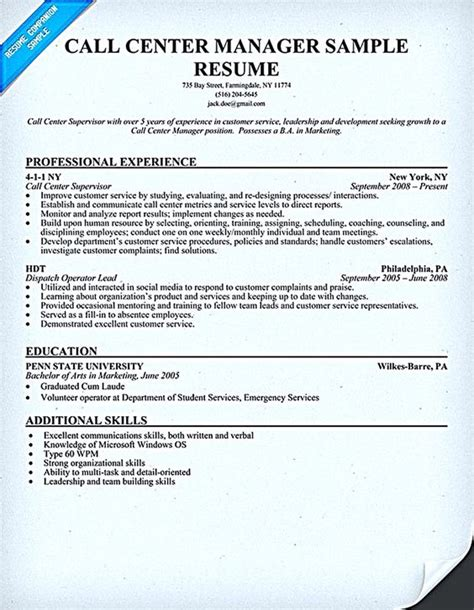 100 sle objectives in resume for call center